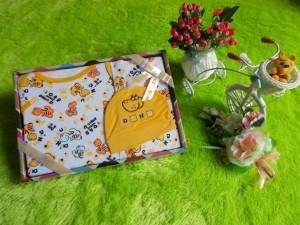 paket kado bayi dino kuning tompege 58 terdiri dari kaos,celana,dan topi bahan lembut banget kualitas terjamin