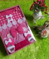 paket kado bayi dress polka pink 77 terdiri dari dress,sepatu,bando bahan lembut banget kualitas terjamin