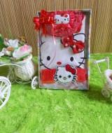 TERCANTIK paket kado bayi hello kitty merah 45 terdiri dari dress bayi hello kitty,turban hello kitty,dan bandana hello kitty cantik banget