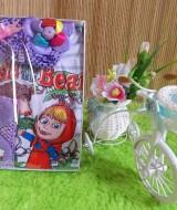 TERMURAH paket kado bayi cewek ungu-02 baby gift set 40 terdiri dari kaos bayi masha,turban polka,dan bandana cantik cocok banget buat kado