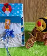 TERMURAH paket kado bayi cowok biru baby gift set 37 terdiri dari kaos bayi,celana pendek dan topi cumi angry birds cocok banget buat kado