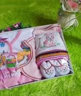 paket kado bayi gift set SERBA KUNING PINK-02 47rb terdiri dari baju,celana,sarung kaki bayi, topi,dan slaber - hemat banget untuk kado bayi