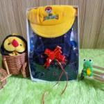 TERMURAH paket kado bayi cowok jeans topi kuning baby gift set