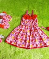 baju pesta bayi set dress bayi,sepatu boots prewalker,bandana cantik pink bunga orange Rp 110.000 muat untuk bayi 0-12 bulan bahan katun