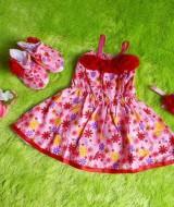 baju pesta bayi set dress bayi,sepatu boots prewalker,bandana cantik pink bunga orange