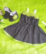baju pesta bayi set dress bayi,sepatu boots prewalker,bandana cantik monokrom polka bunga hijau Rp 100.000 muat untuk bayi 0-6 bulan bahan katun