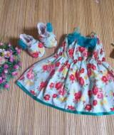 baju pesta bayi set dress bayi,sepatu boots prewalker,bandana cantik bunga vintage tosca Rp 110.000 muat untuk bayi 0-12 bulan bahan katun bikin dedek bayi tambah cantik