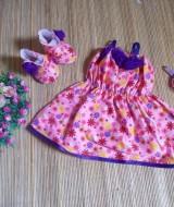 baju pesta bayi set dress bayi,sepatu boots prewalker,bandana cantik bunga pink ungu Rp 110.000 muat untuk bayi 0-12 bulan bahan katun bikin dedek bayi tambah cantik