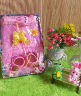 TERCANTIK paket kado bayi pinky girl rose-02 60 terdiri dari dress bayi cantik,sepatu bayi rose cantik,bando bayi kelinci imut