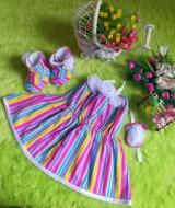 baju pesta bayi set dress bayi,sepatu boots prewalker,bandana cantik salur rainbow Rp 100.000 muat untuk bayi 0-6 bulan bahan katun bikin dedek bayi tambah cantik