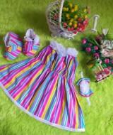 baju pesta bayi set dress bayi,sepatu boots prewalker,bandana cantik salur rainbow Rp 110.000 muat untuk bayi 0-12 bulan bahan katun bikin dedek bayi tambah cantik