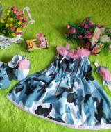 baju pesta bayi set dress bayi,sepatu boots prewalker,bandana cantik army bunga pink Rp 110.000 muat untuk bayi 0-12 bulan bahan katun bikin dedek bayi tambah cantik