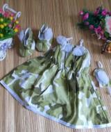 baju pesta bayi set dress bayi,sepatu boots prewalker,bandana cantik army hijau Rp 110.000 muat untuk bayi 0-12 bulan bahan katun bikin dedek bayi tambah cantik