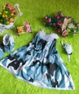 baju pesta bayi set dress bayi,sepatu boots prewalker,bandana cantik army putih Rp 110.000 muat untuk bayi 0-12 bulan bahan katun bikin dedek bayi tambah cantik