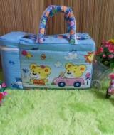 tas perlengkapan bayi motif beruang mobil biru dengan wadah botol susu tahan panas dingin Rp 65.000 praktis dibawa, motif lucu, cocok untuk kado