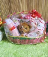 paket kado bayi keranjang Pink tangkai Komplit