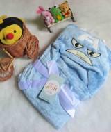selimut carter double fleece bayi Angry Bird Biru 60 bahan tebal dan lembut banget dan ada tutup kepala, cocok juga untuk kado