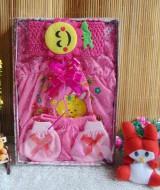 PALING MURAH paket kado bayi dress bayi newborn pink 0-6 bulan 45 berisi dress bayi cantik,sarung tangan dan kaki bayi,serta bando bayi lucu imut