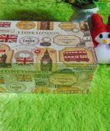 kotak kado giftbox kemasan kado motif london serie-B 22 tebal,bisa dipakai berulang kali,jadikan kadomu lebih istimewa,dimensi ukuran cm24x14x9,5 cm