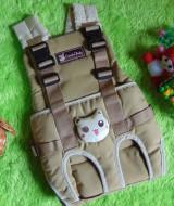 gendongan bayi depan claudia baby cream cokelat boneka 75 bahan kuat dan lembut untuk menggendong bayi,juga cocok untuk kado