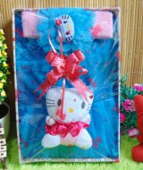 Paket Kado Bayi Baby Gift Dress Biru Hello Kitty Series 55 terdiri Dress pesta bayi 0-12bln,bandana hello kitty dan serta boneka hello kitty cantik
