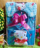 Paket Kado Bayi Baby Gift Dress Biru Hello Kitty Series 57 terdiri Dress pesta bayi 0-12bln,bando telinga hello kitty dan serta boneka hello kitty cantik
