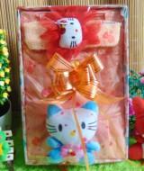 kado Lahiran Paket Kado Bayi Baby Gift Dress Peach Hello Kitty Series 57terdiri Dress pesta bayi 0-12bln,bandana hello kitty dan serta boneka hello kitty cantik