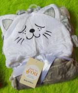 Selimut Topi Carter's Double Fleece Selimut Hoodie Bulu Bayi 3D motif kucing abu 65 (2)
