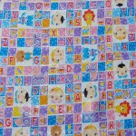 perlak bayi alas ompol jumbo motif kotak alphabet lucu pink