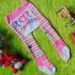 kado bayi celana panjang bayi rajut legging cotton rich lembut 6-12bulan motif i love mommy pink anti slip