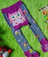 kado bayi celana panjang bayi rajut legging cotton rich lembut 6-12bulan motif owl abu ungu anti slip
