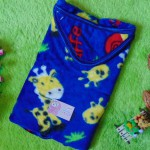 Kado bayi selimut bayi bulu topi selimut bepergian bayi bludru lembut motif jerapah biru