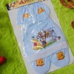Kado bayi set topi bayi newborn 0-6bulan plus sarung tangan kaki karakter winnie the pooh biru