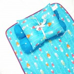 EKSKLUSIF Kado Bayi Baby Bedding Set 4in1 Matras Perlak Set Bantal Peang Plus 2 Guling motif Ikan Biru