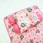 EKSKLUSIF Kado Bayi Baby Bedding Set 4in1 Matras Perlak Set Bantal Peang Plus 2 Guling motif Kucing Pink Lucu