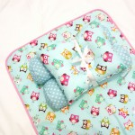 EKSKLUSIF Kado Bayi Baby Bedding Set 4in1 Matras Perlak Set Bantal Peang Plus 2 Guling motif Owl Tosca
