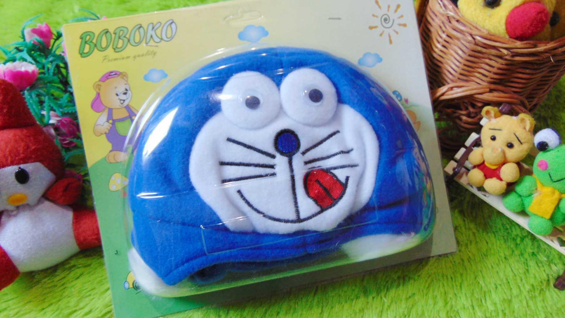 Kado Bayi Baby Gift Topi Bayi Newborn 0-12bulan Boboko Karakter Doraemon Biru 32 bahan lembut adem,cocok untuk penggemar Doraemon