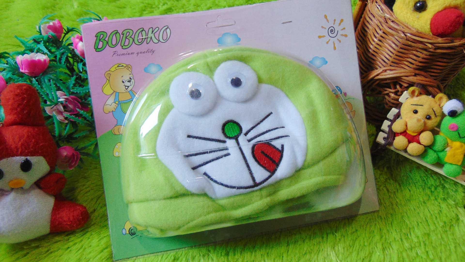 Kado Bayi Baby Gift Topi Bayi Newborn 0-12bulan Boboko Karakter Doraemon Hijau 32 bahan lembut adem,cocok untuk penggemar Doraemon