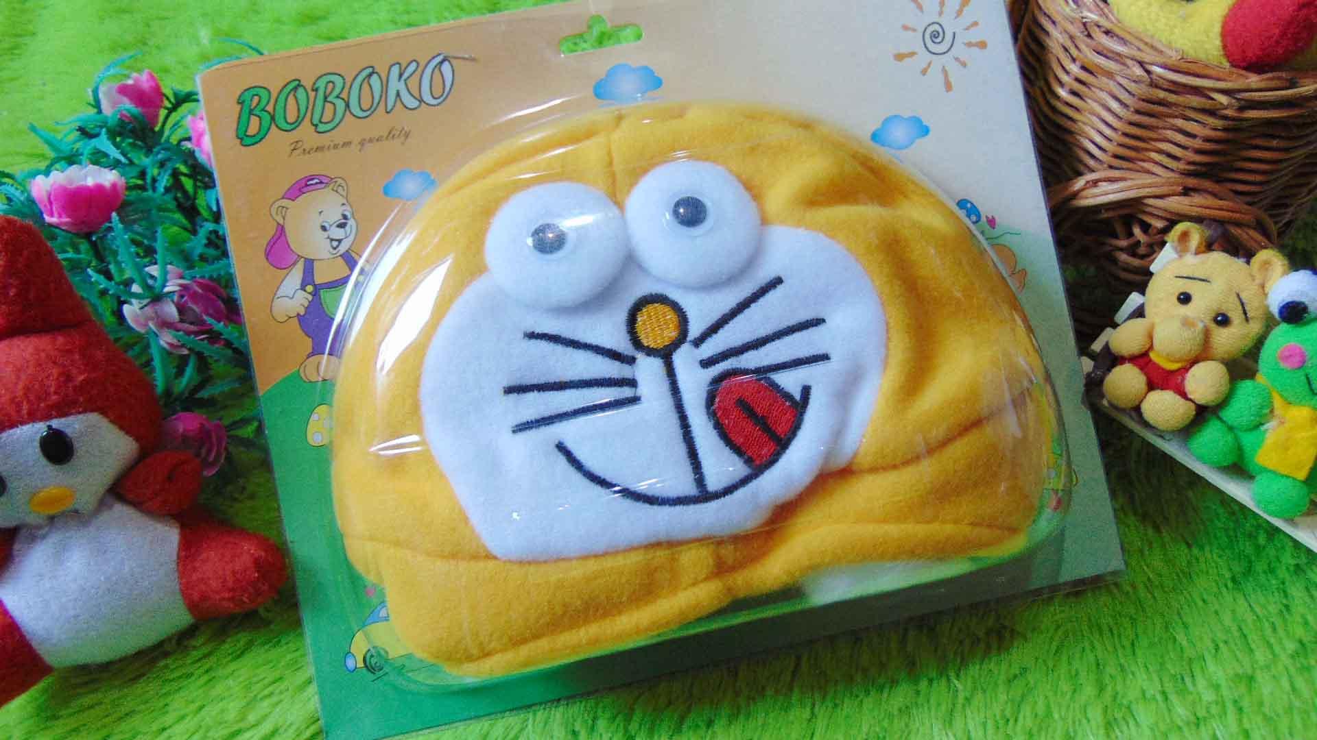 Kado Bayi Baby Gift Topi Bayi Newborn 0-12bulan Boboko Karakter Doraemon Kuning 32 bahan lembut adem,cocok untuk penggemar Doraemon