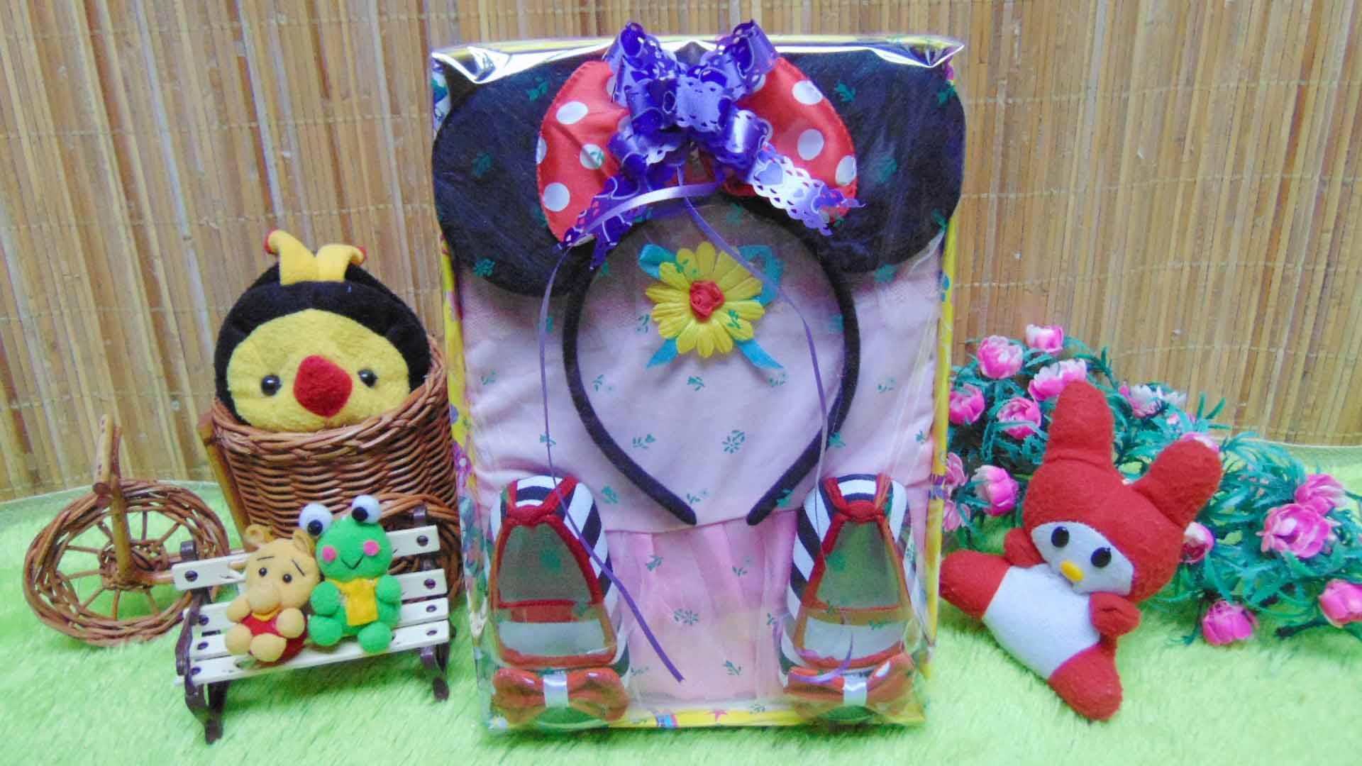Paket Kado Lahiran Bayi Baby Gift Dress Pink Minnie Mouse Red Black Perlengkapan Baru Lahir Set Lengkap Ujung Rambut Hingga Kaki Series 75 Terdiri