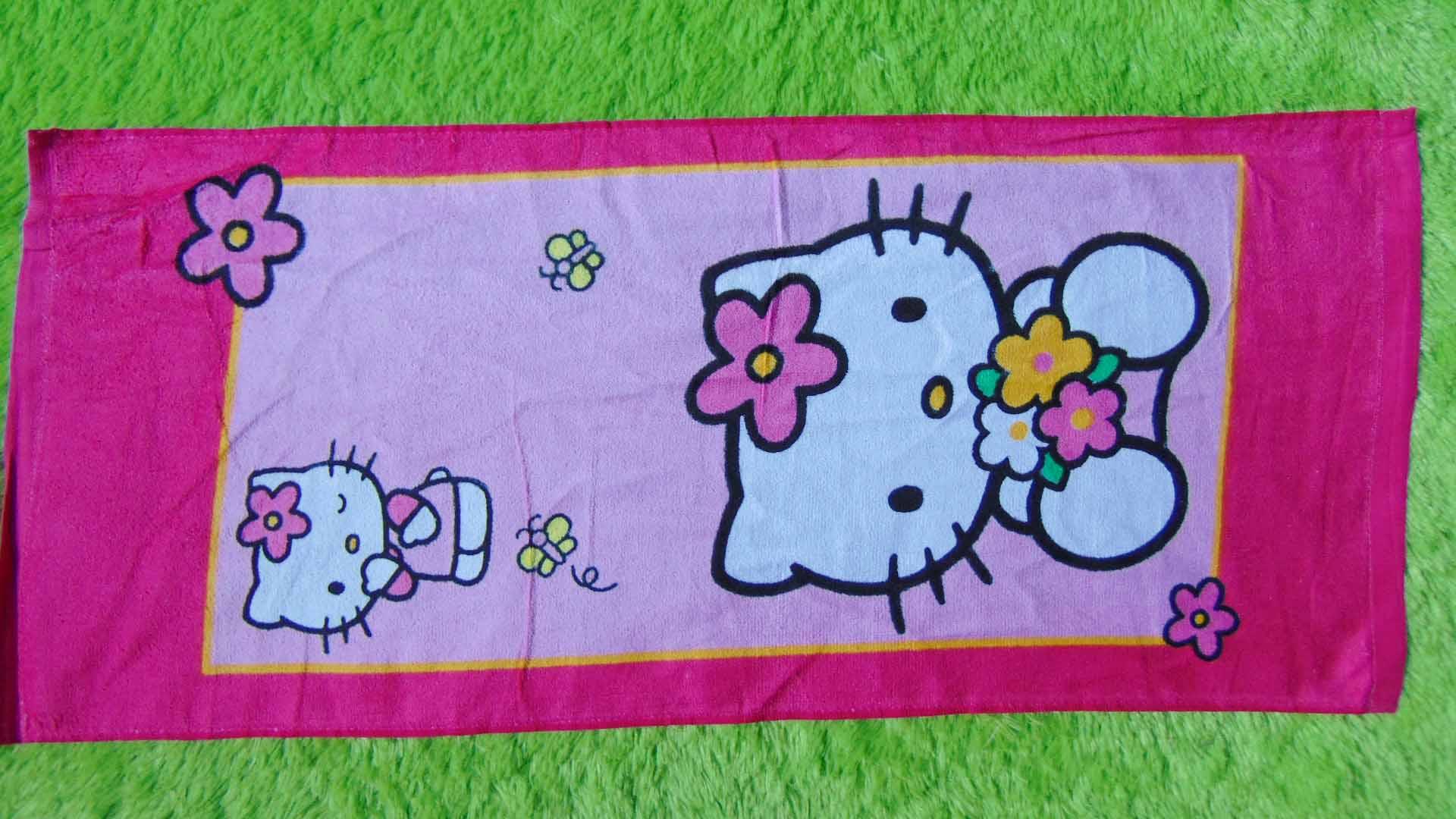 TERLARIS handuk karakter hello kitty lucu murah kado hadiah anak bayi 22 dengan motif yg disukai anak2,panjang 75cm,lebar 33cm,juga cocok untuk kado anak atau bayi