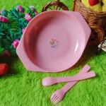 TERMURAH Kado Bayi Alat Makan Bayi Feeding Set Ninio 3in 1 pink DEHP FREE BPA FREE