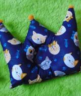 kado bayi Bantal mahkota crown pillow bantal peyang Peang bayi baby motif kucing navy 37