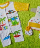 kado bayi set romper bayi newborn 0-6bulan plus topi dan booties bayi motif dino's playground kuning