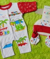 kado bayi set romper bayi newborn 0-6bulan plus topi dan booties bayi motif dino's playground merah