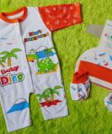 kado bayi set romper bayi newborn 0-6bulan plus topi dan booties bayi motif dino's playground orange