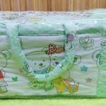 Kado bayi tas perlengkapan bayi motif beruang hijau selimut dengan wadah botol susu tahan panas dingin