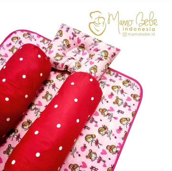 EKSKLUSIF Kado Bayi Baby Bedding Set 4in1 Matras Perlak Set Bantal Peang Plus 2 Guling motif Balet Pink