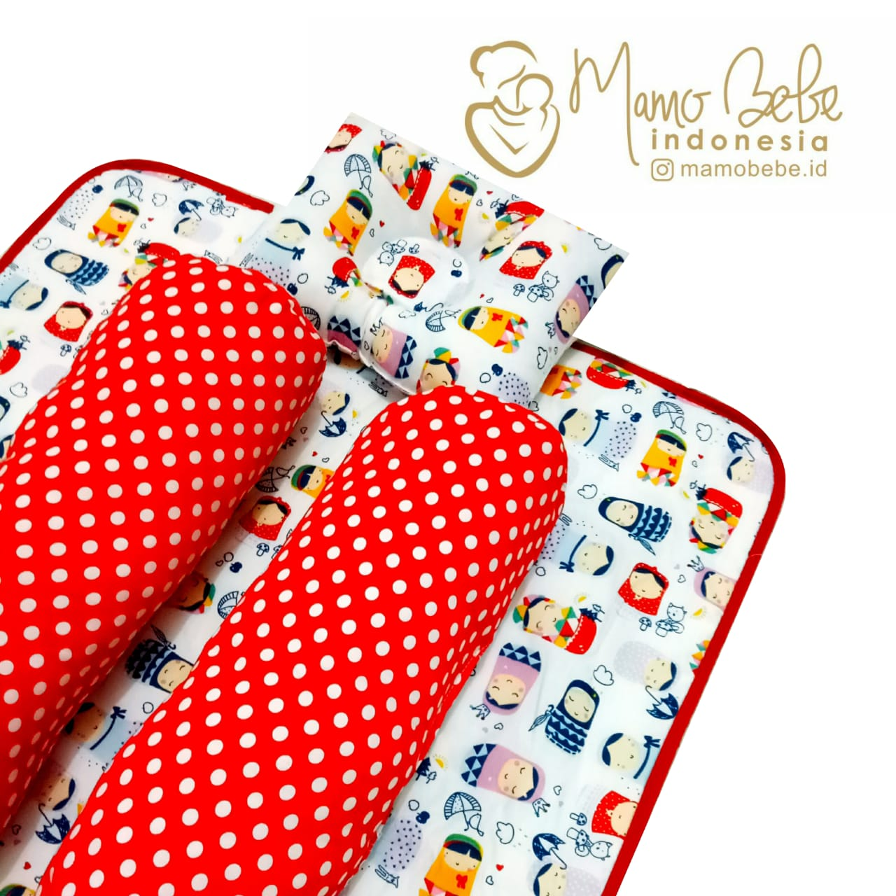 EKSKLUSIF Kado Bayi Baby Bedding Set 4in1 Matras Perlak Set Bantal Peang Plus 2 Guling motif Boneka Jepang Kokeshi