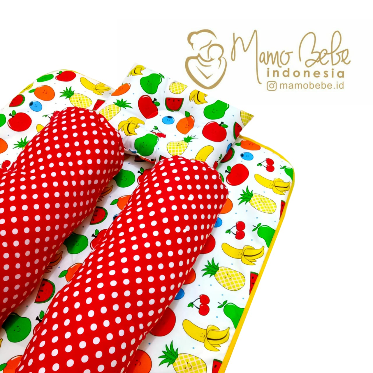 EKSKLUSIF Kado Bayi Baby Bedding Set 4in1 Matras Perlak Set Bantal Peang Plus 2 Guling motif Buah-Buahan Fruits